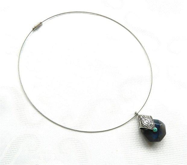 Colier rondea agată faţetată bleu-gri