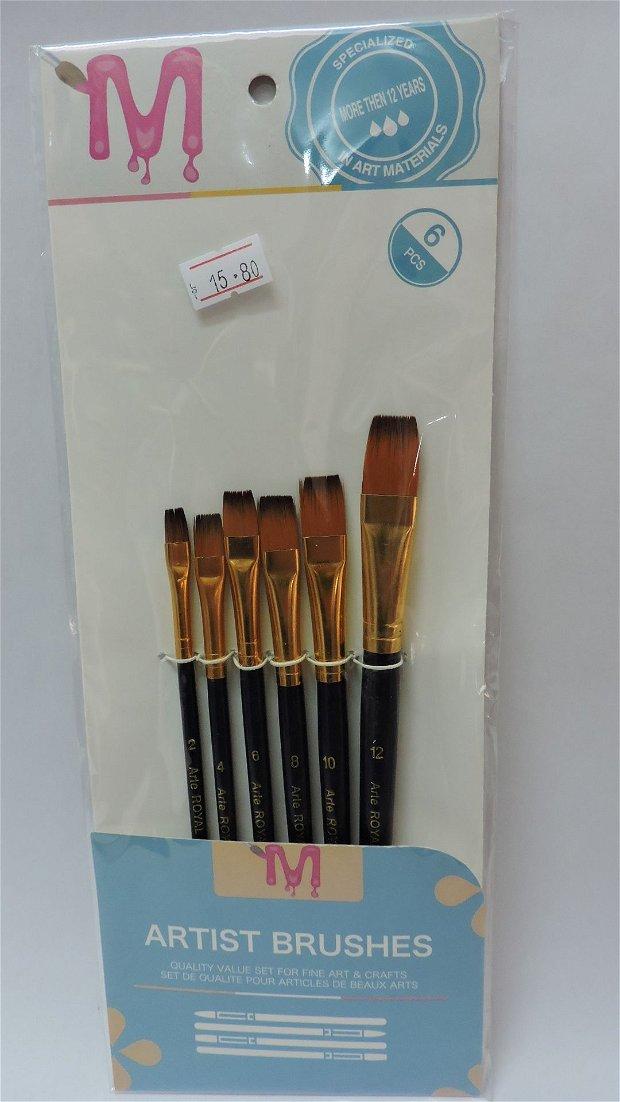 Set 6 pensule sintetice, late