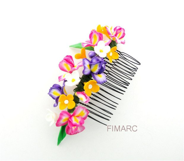 Pieptene cu Irisi si Liliac - accesoriu pt.coc