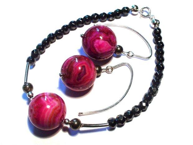 Cercei mari din Argint 925, Agate Crazy lace mov roz si Pirita - CE174 - cadou pentru ea, cercei pietre semipretioase, cadou romantic