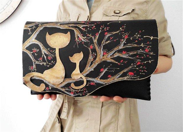 poseta plic handmade unicat din piele - Sakura Cats