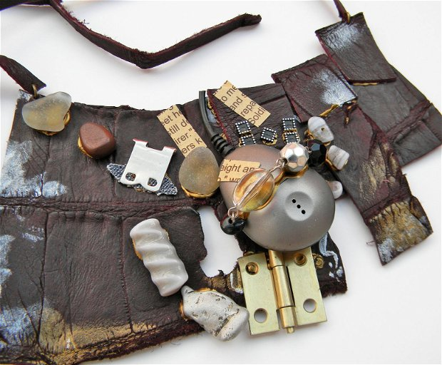 Colier Steampunk Industrial Chic din piele maro cu margele si elemente metalice, colier statement  handmade