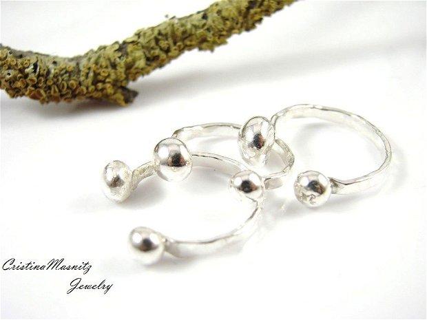 Inel din argint 925, pentru prima falanga, cu bobite