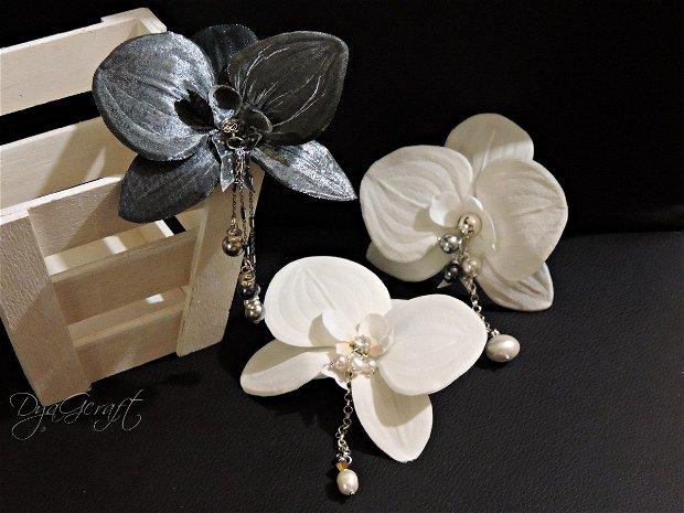 Cercei supradimensionati Orhidee din matase naturala