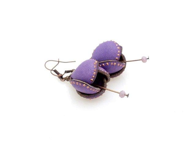 Cercei Boboci Piele Violet