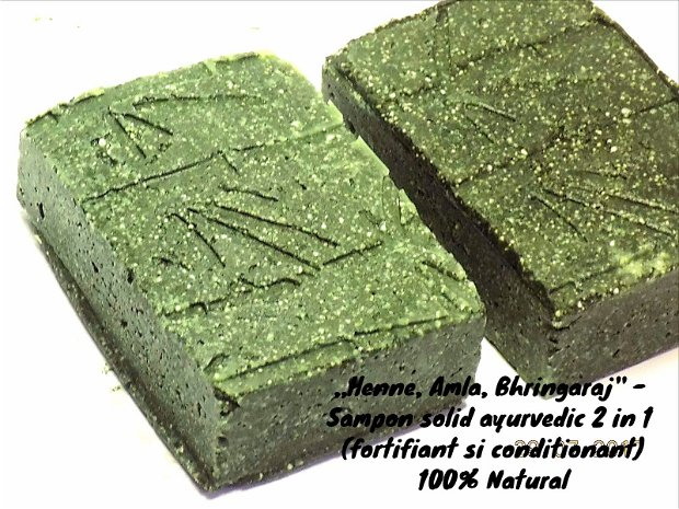 ,,Henne neutre, Amla si Bhringaraj'' - Sampon solid ayurvedic, fortifiant & conditionant