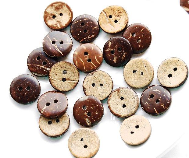 Nasturi din lemn de cocos - 12.5 mm / 15 mm