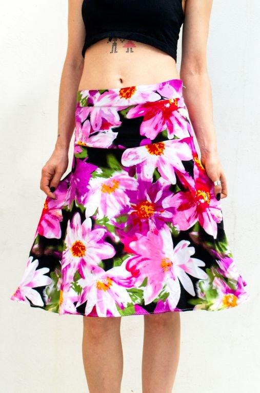Fusta talie inalta floral print