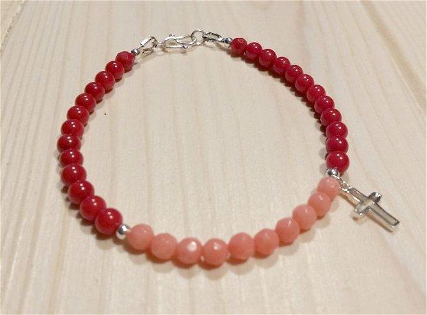 Bratara Coral Rosu, Coral Roz si charm Cruce din Argint 925