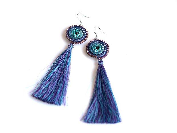 Cercei Canaf Multicolor Degrade Turquoise Albastru Violet