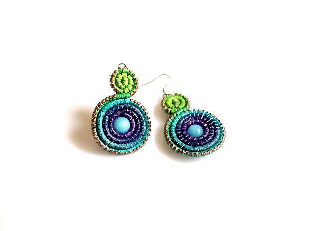 Cercei Rozetă Dublă Piele Multicolori Verde Turquoise Violet