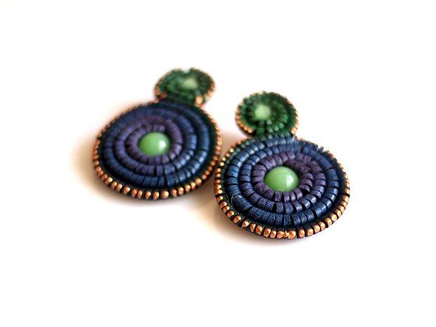 Cercei Piele Rozetă Dublă cu Clips, Multicolori Verde Albastru Violet