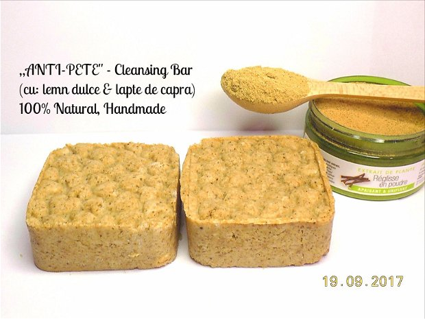 ,,ANTI-PETE'' - Cleansing Bar (cu: lemn dulce si lapte de capra) - ptr. ten patat, uscat ori sensibil-reactiv (100 gr.)