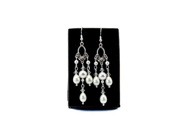 Cercei argint Chandelier Swarovski Pearls