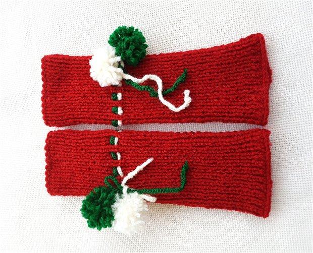 Manusi pentru Mos Craciun, Manusi tricotate fara degete de culoare rosie