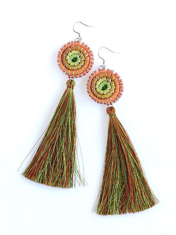 Cercei Canaf Multicolor Verde Oranj