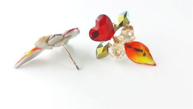 Cercei cu cristale Swarovski, cu surub, fancy crystals