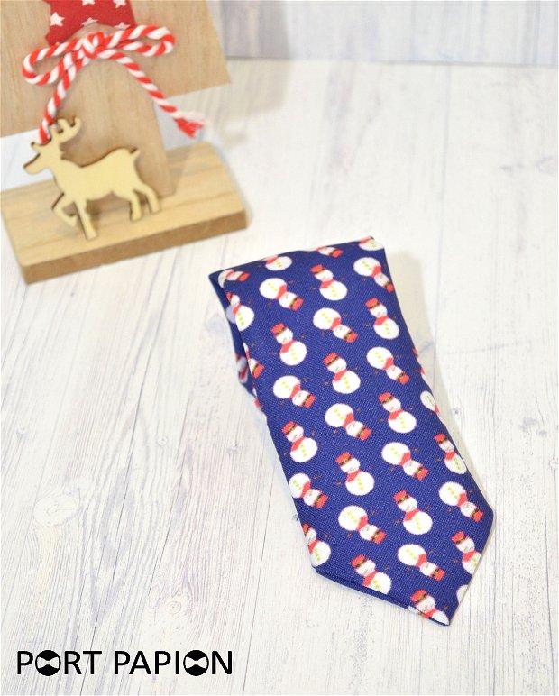 Cravata copii cu nod bleumarin cu om de zapada