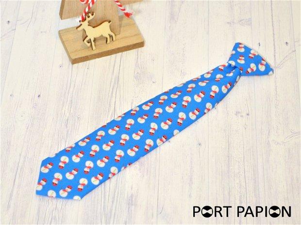 Cravata copii cu nod albastru deschis cu om de zapada