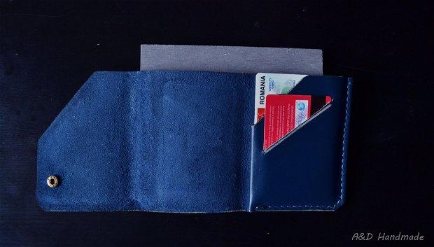 """Portofel """"SMART"""" AD14 din piele naturala reciclata, slim, personalizat prin gravura"""