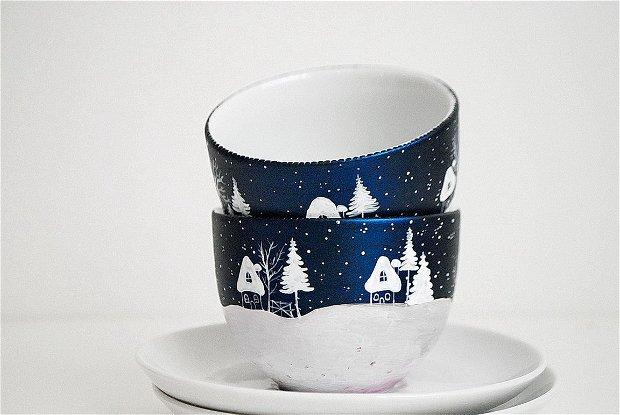 """Ceasca cu Farfurioara """" Ninge... """" - Winter Collection"""