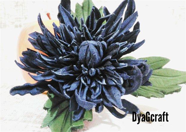 Brosa piele naturala Crizantema
