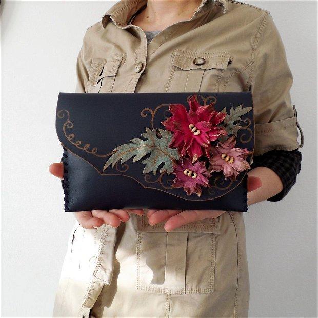 poseta plic handmade unicat din piele - Pink Flowers
