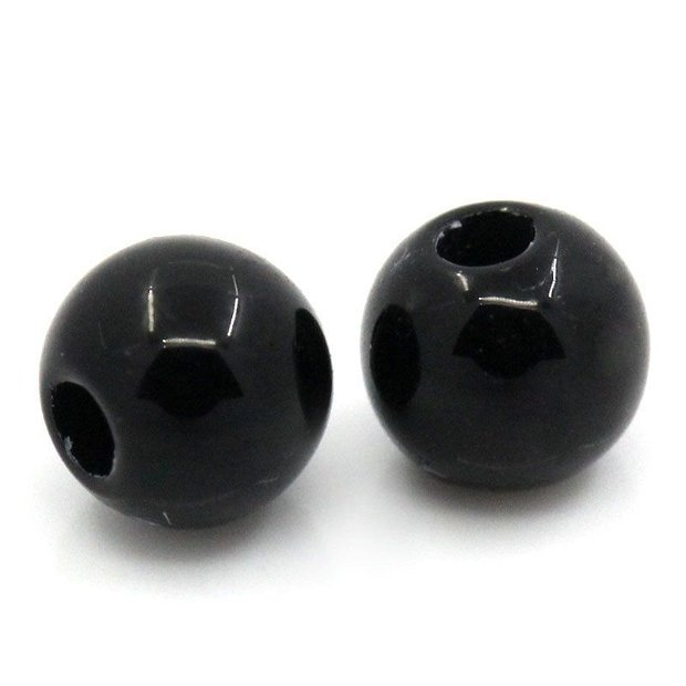 10 buc Margele acril negre 4mm -  MP01
