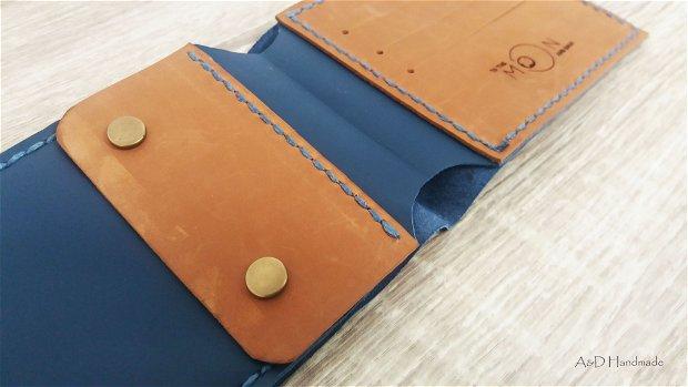 """Portofel """"AD3"""" din piele naturala reciclata, slim, personalizat prin gravura"""