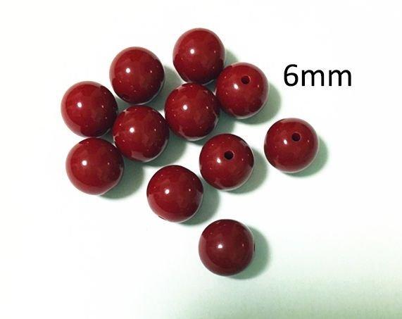 10b Margele de culoare bordeaux din acril 6mm MP30