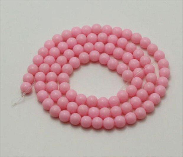 10b Margele de culoare roz din acril 6mm MP32