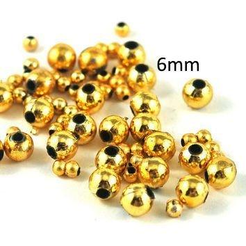 10buc Margele din acril culoare auriu metalic 6mm MP40