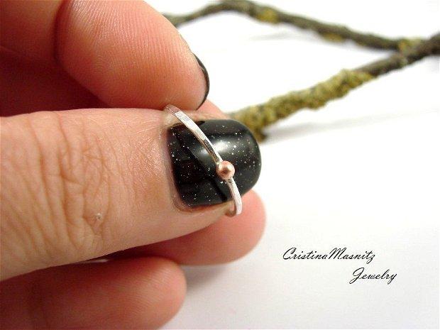 Stacking ring din argint 925 si bobita din cupru