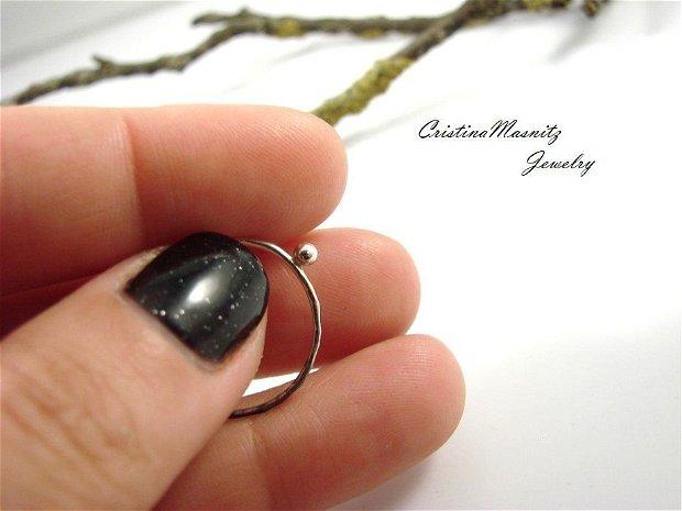 Stacking ring din argint 925 cu bobita