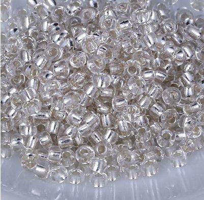 Margele de nisip argintiu deschis cu foita argintie (40gr) 3mm-MN46