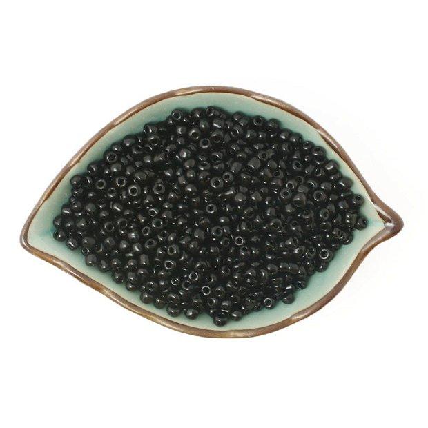 Margele de nisip negru lucios(40gr) 2mm-MN64
