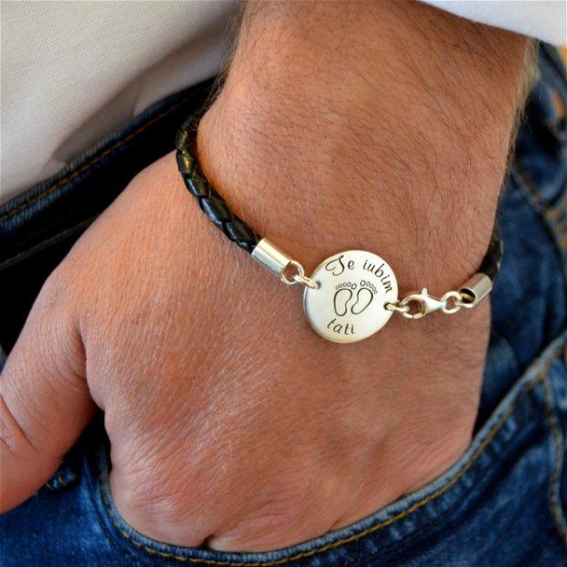 Bratara personalizata din argint 925, snur impletit din piele naturala