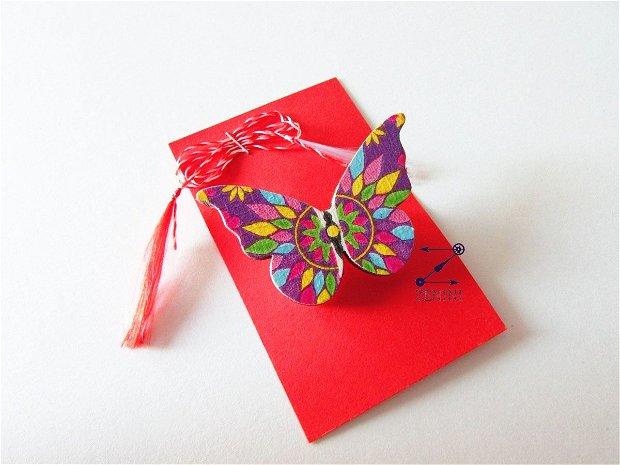 Martisor fluture, brosa fluture, martisor decoupage, martisor model floral, martisoare fluturi