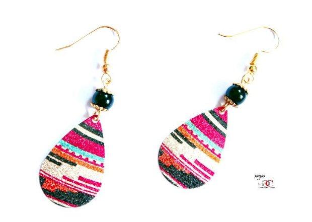 Cercei PERUAN- drop glitter,alama aurita,pietre semipretioase onix negru