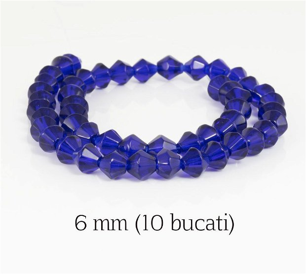Cristale biconice, 10 buc, 6 mm, COD BK7