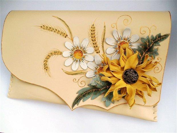 poseta plic handmade unicat din piele - Sunflower in a Summer day