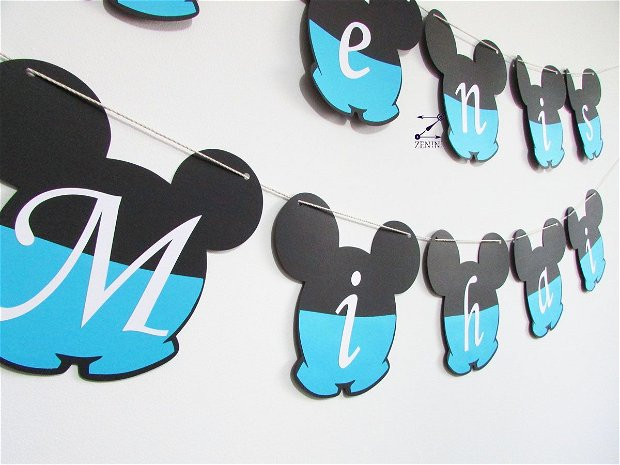 Ghirlanda botez Mickey Mouse personalizata cu numele bebelusului