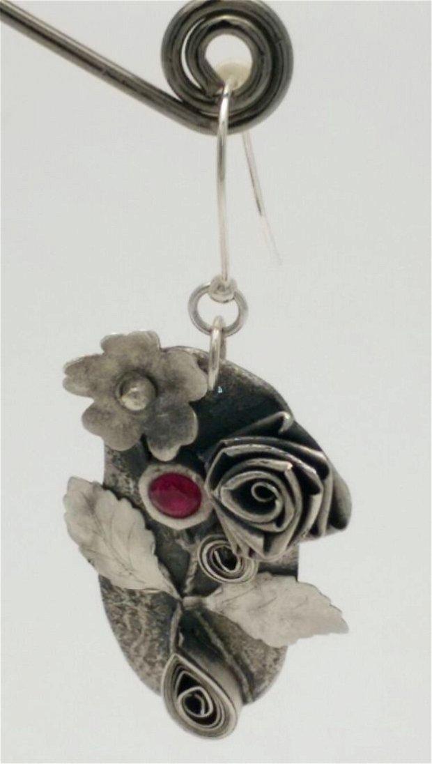 cercei unicat din Argint 999 cu design floral