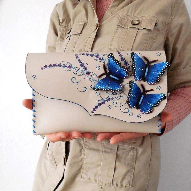 poseta plic handmade unicat din piele - Intense Blue Butterflies