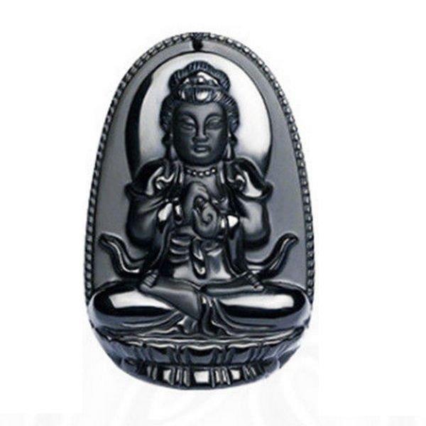 K0095 - Pandantiv, obsidian negru sculptat, Buddha / Bodhisattva, 50x32x11mm