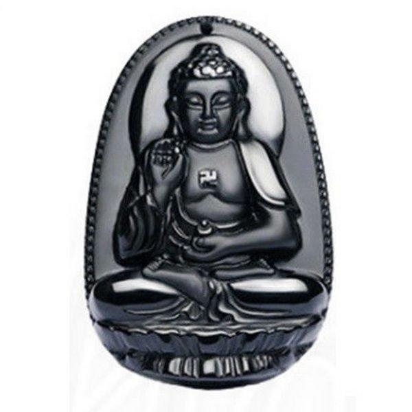 K0088 - Pandantiv, obsidian negru sculptat, Buddha / Amitabha, 50x32x11mm