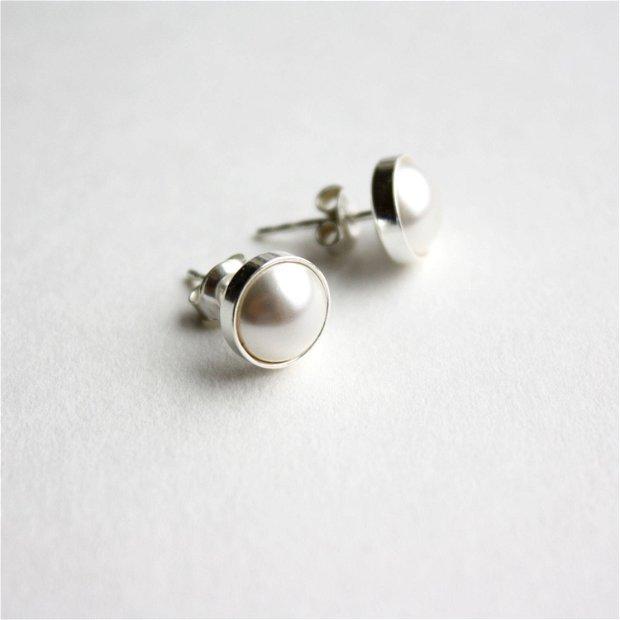 """Cercei """"Little Atoms"""" din argint 925 și perle Swarovski - White"""