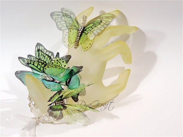 Set bijuterii cu fluturi matase naturala Forest butterfly