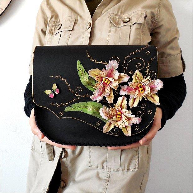 "Geanta ""Crossbody"" handmade unicat- Orchid"