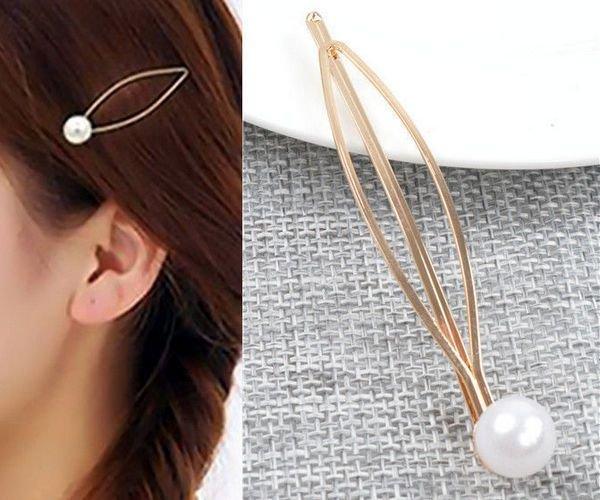 K0196 - (3buc) Agrafa / clema par, aliaj metalic auriu, perla sintetica, 66x13mm